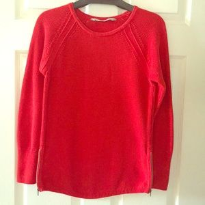 ATHLETA Red Side Zip Sweater - Size Small